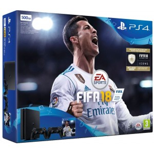 Sony PlayStation 4 (PS4) Slim 500GB + Fifa 18 + 2ри джойстик v2 (на изплащане)
