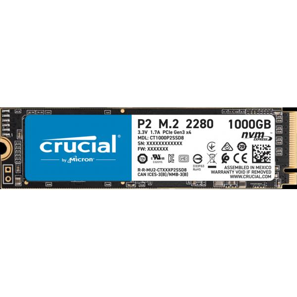 Crucial P2 1TB, PCIe, M.2 2280, NVMe, SSD [CT1000P2SSD8] (на изплащане), (безплатна доставка)