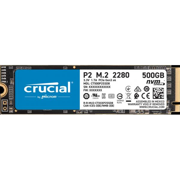 Crucial P2 500GB, PCIe, M.2 2280, NVMe, SSD [CT500P2SSD8] (на изплащане), (безплатна доставка)